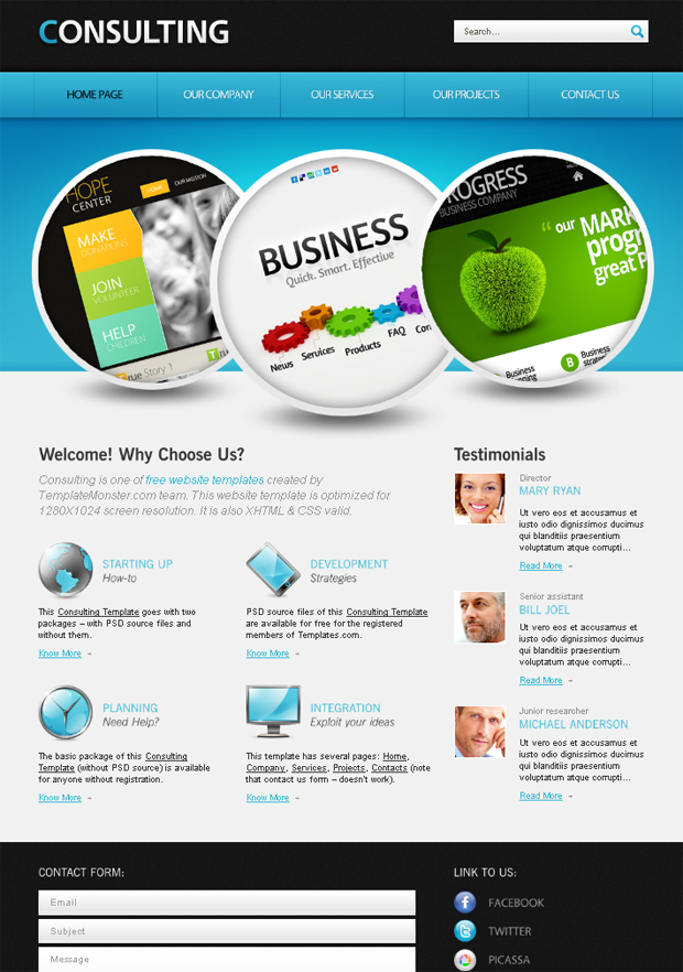 27 templates html5 css3 gratuits pour sites d 39 entreprise for Consulting website